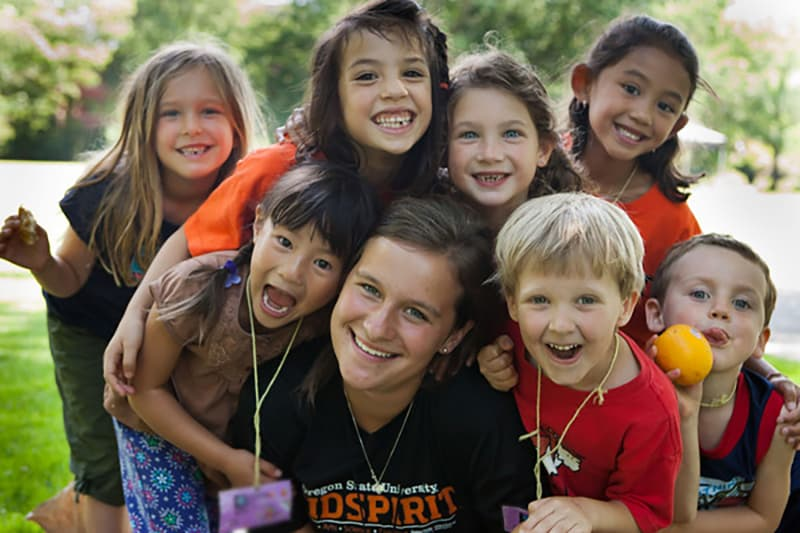 KidSpirit camp leader and kids